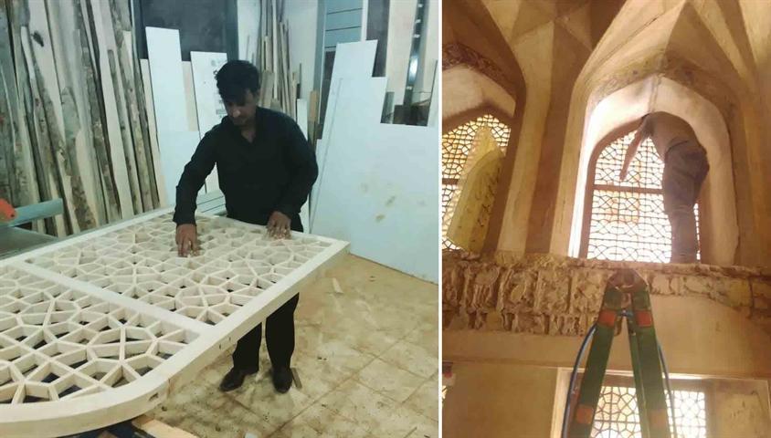 مرمت سازه های چوبی و تزئینی عمارت کاخ هشت بهشت اصفهان شروع شد
