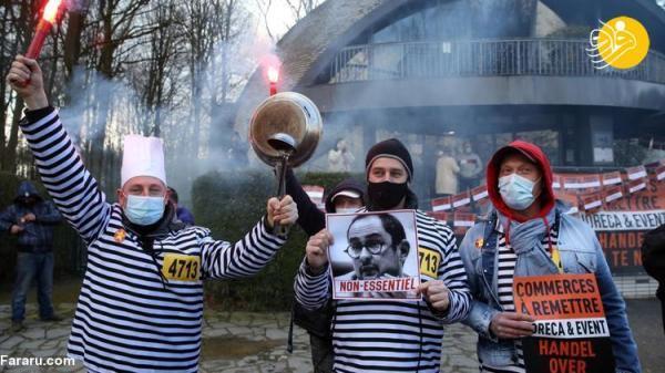 (تصاویر) تظاهرات علیه محدودیت های کرونایی در بلژیک